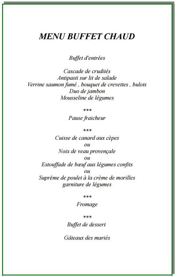 Exemple De Menu De Mariage Buffet Goniodoridae